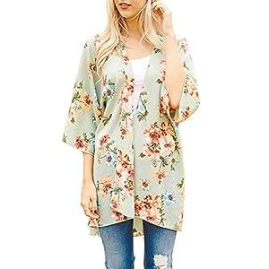 524a6525de21e PINKMILLY Women s Floral Print Kimono Sheer Chiffon Loose Cardigan