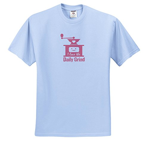 Price comparison product image 3dRose Russ Billington Designs - Funny Coffee Grinder Design In Pink On White - T-Shirts - Youth Light-Blue-T-Shirt XS(2-4) (TS_262258_59)