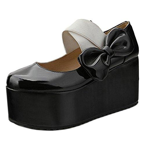 Coolcept Women Platform High Heels Court Shoes Black To37D38gF