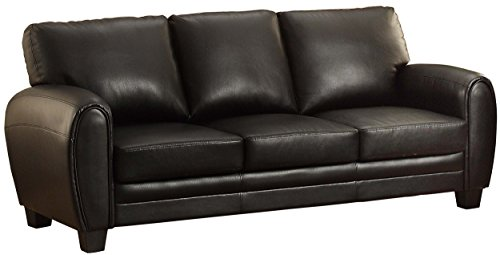Loveseat Modern Black Leather (Homelegance 9734BK-3 Upholstered Sofa Bonded Leather Match, Black)