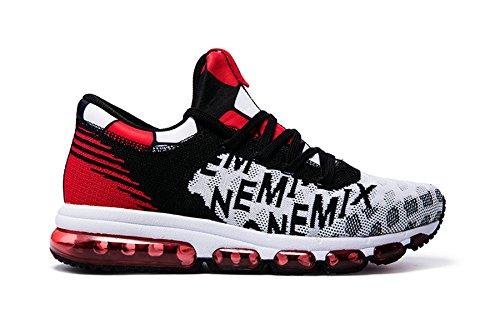Scarpe Da Uomo Onemix Air Scarpe Da Corsa Leggere Da Donna Scarpe Sportive Con Sneakers A Cuscino Daria Sneaker Mid-top Unisex Adulto Nero-bianco-rosso