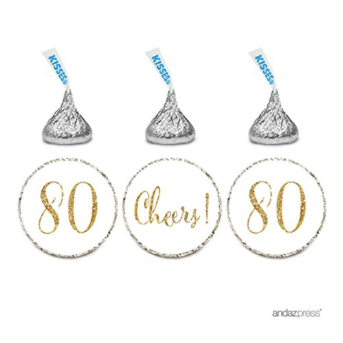 Personalized Birthday Labels (Andaz Press Gold Glitter Print Chocolate Drop Labels Stickers, Cheers 80, Happy 80th Birthday, Anniversary, Reunion, White, 216-Pack, Not Real Glitter, For Hershey's Kisses Party Favors)