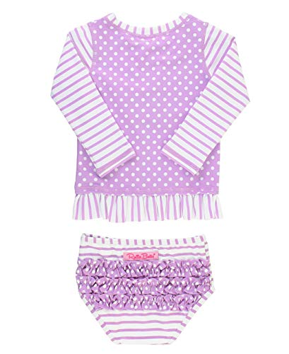 RuffleButts Baby/Toddler Girls Lilac Stripe Polka Long Sleeve Rash Guard Bikini Swimsuit Set - 6-12m ()