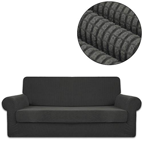 ANJUREN Sofa Loveseat Couch Chair Slipcover Cover with Separate Seat Cushion Cover 2 Piece 4 Seater T Cushion Sofa Slipcovers Large Grid Stretch Living Room Furniture Slip Cover (XL Sofa, Gray)