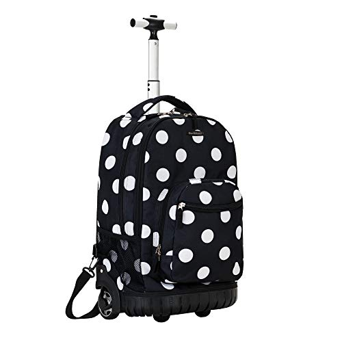 Rockland Luggage 19 Inch Rolling Backpack Printed, Black Dot, Medium