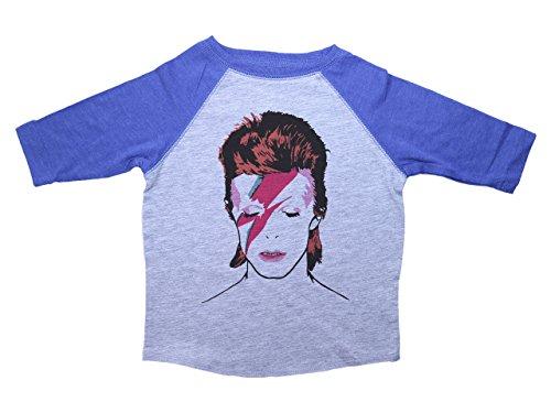 Baffle David Bowie Raglan Toddler Tee/Bowie/Ziggy Stardust/70s Glam Rock (2T, Heather & -