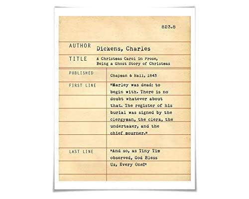 Amazon.com: A Christmas Carol by Charles Dickens. Literary Art Print. 4 Sizes. Library Card ...