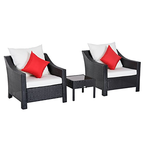 - Outsunny 3 Piece Outdoor Patio Cushioned Rattan Wicker Table and Chair Set