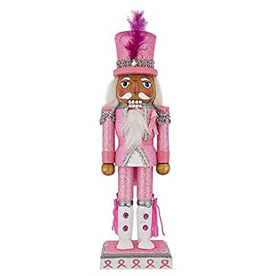 Nutcracker Ballet Gifts Christmas Holiday Wooden Pink Breast Cancer Support Nutcracker Figure with Pink Rhinestones & Tassels, a Fuchsia Feather in His Hat, and Fancy White Boots, Large 10 Inch