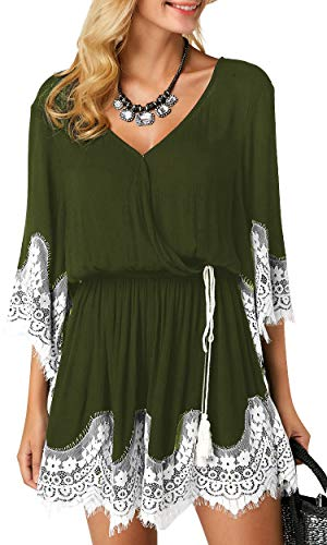 (Carprinass Button Closure Femine Party Lace Panel V Neck Romper Outfits Green L)