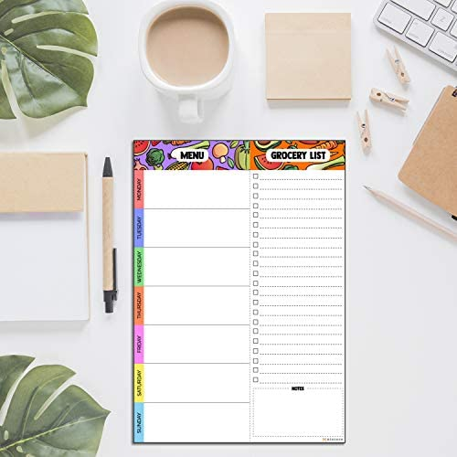 Magnetic Meal Planning Pad   7x10 inch Fridge Notepads for Organized Daily & Weekly Planner   Tear-Off Grocery List Checklist for Convenient Shopping   Notepad with Magnet for Refrigerator or Desk 4