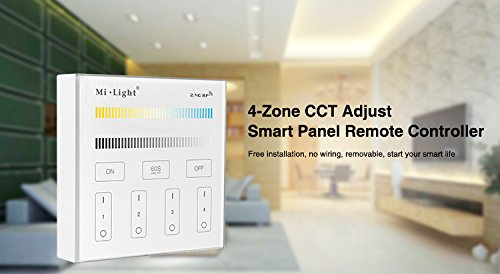 Langboss DC3V 2.4G Wireless Wall Mounted 4 Zone CCT adjustable Touch Panel Smart LED Controller, Compatible with Milight CCT led bulbs, CCT LED controllers