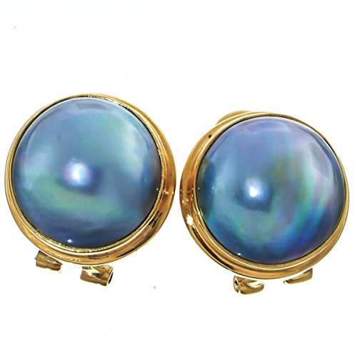 (Gold Plated Sterling Silver South Pacific Blue Mabe Cultured Pearl Omega Post)