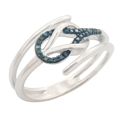 Brand New Round Brilliant Cut Blue Diamond Stylist Ring, 10k White Gold Size 6 by Prism Jewel