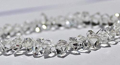 """Gems-World Jewelry AAA+++ Clear 12.5 Gram White Herkimer Diamond Quartz Nuggets, Size 8 to 11.5 mm 8"""" Inch Center Drilled Beads - Herkimer Rough Stone"""