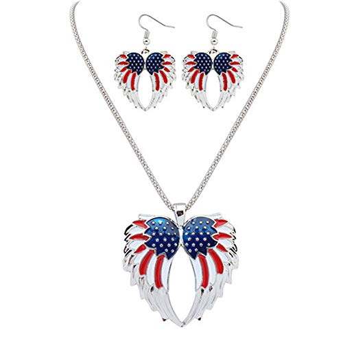 (Sanvaree Patriotic Red White Blue American USA US Flag Angel Wings Necklace Earring Sets Pendant Jewelry 4th of July (Angel's Wings))