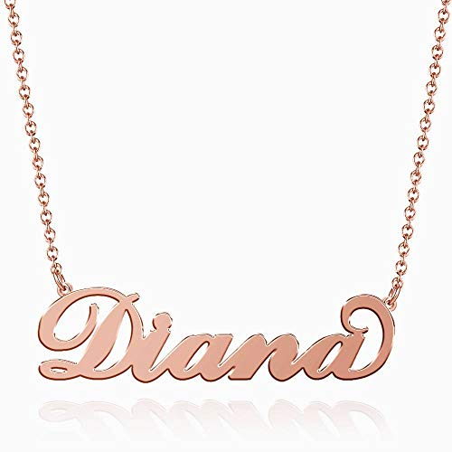 SOUFEEL Diana Name Necklaces Pendant Stainless Steel Rose Gold Personalized Nameplate for Women Girls Gifts