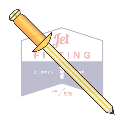 1/8X.06-.12 Blind Rivets | Copper Body - Brass Mandrel | Dome Head | Body: Copper Alloy #110 / Mandrel: Brass (QUANTITY: 10000) by Jet Fitting & Supply Corp