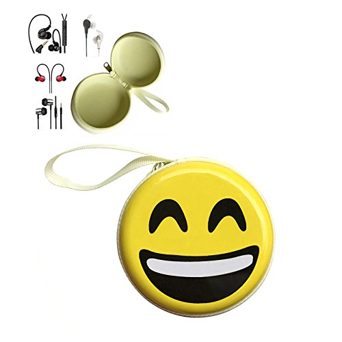 Price comparison product image Earbud Case, Emoji Earphone Carrying Case, Multifunction Protective Hard Box, Portable Storage Pouch Holder Organizer for Power Cord, USB Cable, SD/TF Memory Card - LOL
