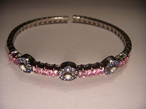 Stunning 18K White Gold Pink Blue Sapphire Diamond Floral Bangle Bracelet (Blue Sapphire Bracelet White)