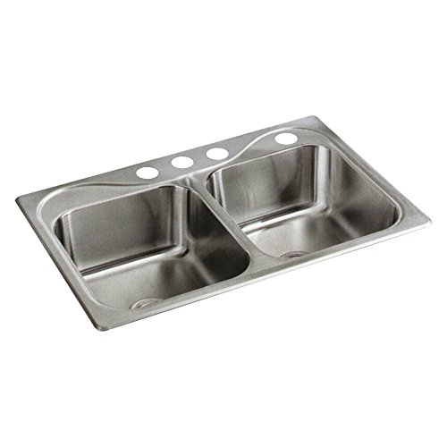 STERLING 11402-4-NA Southhaven 33-inch by 22-inch Top-mount Double Equal Bowl Kitchen Sink, Stainless Steel