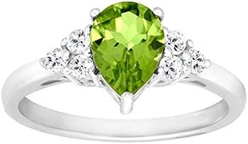 1 1/2 ct Peridot & White Topaz Ring
