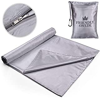 The Friendly Swede Sleeping Bag Liner - Travel and Camping Sheet, Pocket-Size, Ultra Lightweight, Silky Smooth (Grey with Zipper)