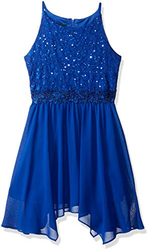 Amy Byer Big Girls' Sleevess Sequin Lace Bodice Party Dress, Cobalt, 14 ()