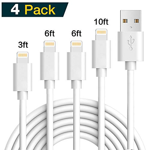 iPhoone Charger, 4Pack 3FT 6FT 6FT 10FT Lighttning to USB Charging Cable Cord Compatible with iPhoone X 8 8Plus 7 7Plus 6 6Plus 6S 6SPlus 5 5S SE - White04 by Weavom