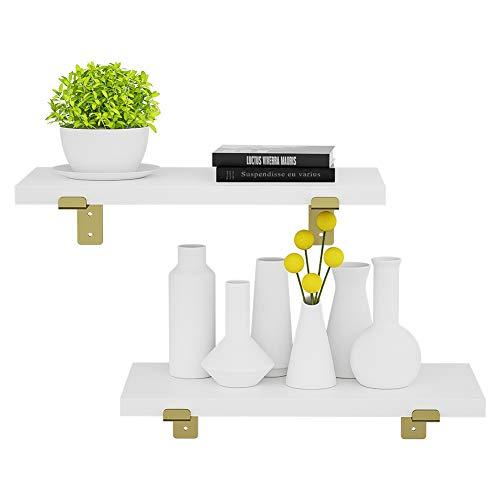 piorlado Wall Mounted Floating Shelf with Brackets, Functional Wall Storage Shelves Display Ledge Shelves Set of 2 Decorative Home Decor Display Shelf for Bedroom, Kitchen, Bathroom