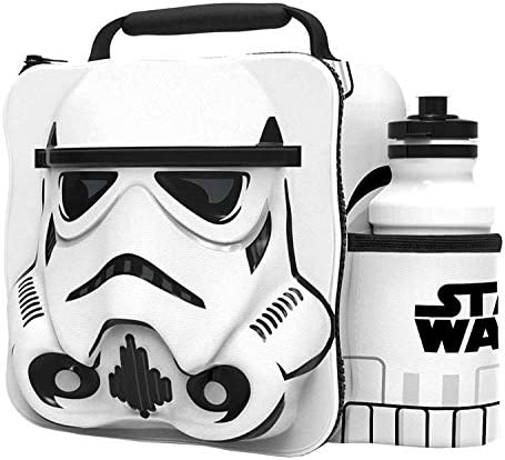 Starwars Kids Children 3D Lunch Box Bag With Sport Water Bottle (White One Size)