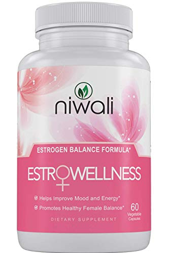 Niwali EstroWellness Pills for Hormonal Balance & Menopause Relief for Women | Menopausal Hot Flashes and PMS Relief | Restores Healthy Estrogen Levels | 60 Non-GMO Vegetarian Capsules - Estrogen Healthy
