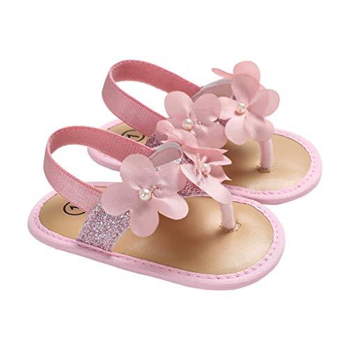 (Baby Girls Flower Bundles Sparkle Flip Flops Summer Clip Toe Beach Sandals Pink Size S)