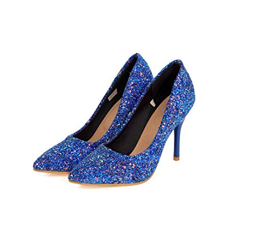 Size Large Mouth Shoes Shallow Shoes Pieces Pointed Heels 43CUSTOM Dress Pump BLUE HIGHXE Shiny Party Shoes Dance High Toe Stiletto Ladies Tqwa4