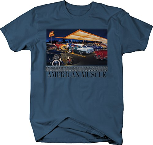 American Muscle Classic Hotrod Car Truck Drive-in Cruise T Shirt for Men XLarge Denim Blue