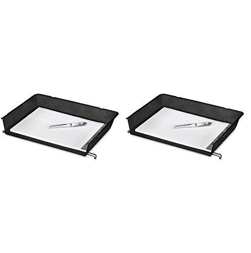Rolodex Nestable Mesh Stacking Side Load Letter Tray Wire Black Pack of 2 Size: 2 Pack, Model: ROL62555, Office Shop