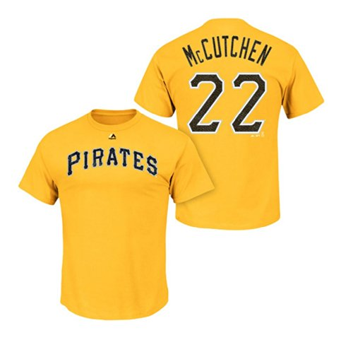 Majestic Men's Andrew McCutchen Name and Number T-Shirt Large Yellow Gold