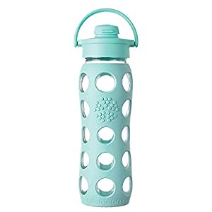 Lifefactory 22-Ounce BPA-Free Glass Water Bottle with Flip Cap and Silicone Sleeve, Turquoise