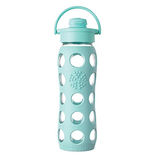 Lifefactory 22-Ounce BPA-Free Glass Water Bottle with Flip Cap & Silicone Sleeve, Turquoise