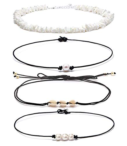 DB DUOBAO Shell Pearl Choker Necklace for Women Hawaiian Seashell Pearls Choker Necklace Adjustable Cord Necklace Set (Shell pear Set 3)