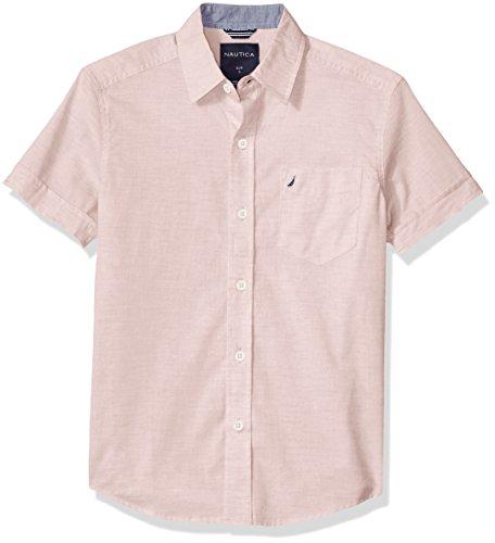 Nautica Boys' Big Short Sleeve Poplin Shirt, Sunair Peach, Medium (10/12) (Peach Shirt For Boys)