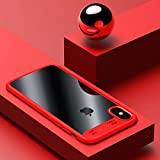 IPhone X Phone Case Phone Shell Shockproof Full Protective Anti-Scratch Resistant Transparent Back Bumper The Thinnest Phone Case for Apple iPhone X (Red)