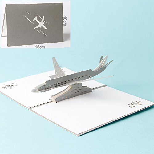 Airliner Plane (HeartMoon 3D Card Airliner Plane Birthday Mother's Day card for Him Husband Boyfriend Wife Thank You Congratulations Laser Cut 3D Love Birthday card ( Silver ))