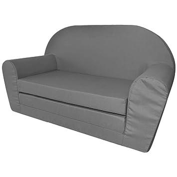 design de qualité b837b 72ac9 vidaXL Chaise Longue canapé Fauteuil Pliable Pliant pour Enfants Gris  Canapé-lit