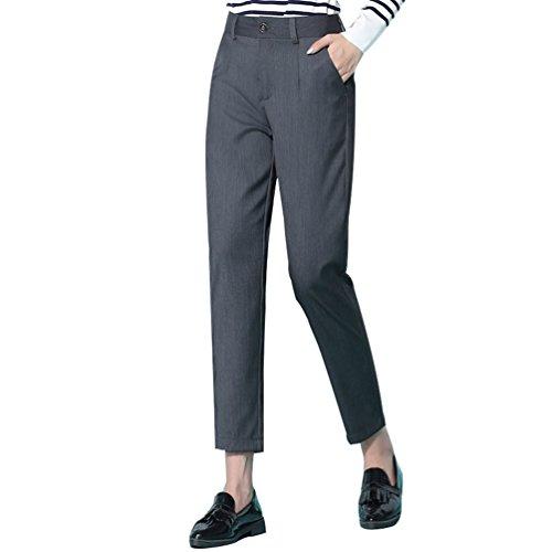 Stretch Matita Tasche Sportivi Casual Grigio Skinny Donna Ufficio Pantaloni YiLianDa wXEHvq1A1