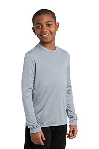 Dri-Wick Youth Sport Performance Moisture Wicking Athletic Long Sleeve Shirt (Silver, Medium)