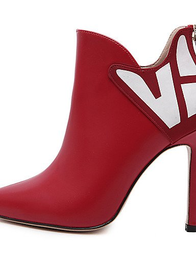 Eu39 Tacón Xzz Semicuero Rojo 5 5 Botas Puntiagudos Mujer Uk6 Red Negro Vestido De us8 Stiletto Tacones Cn40 Zapatos tqxZrPzt