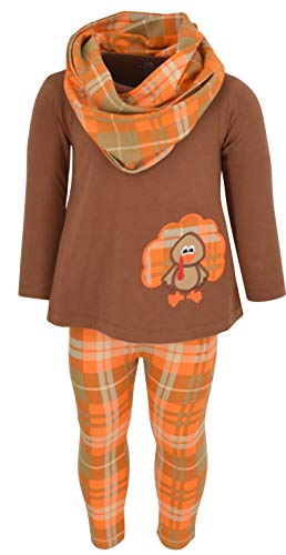 Unique Baby Girls 3 Piece Thanksgiving Turkey Embroidery Plaid Outfit (6)
