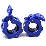 IADU Barbell Collars Clamps Dumbbell Clips Quick Release Standard bar Clips 1' Pair Weights Clips Spring Collars Plate Locking Muscle Strength Weightlifting Sports Workout Equipment.(Black).