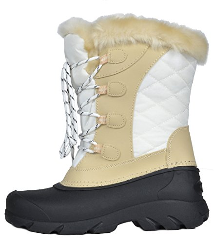 PAIRS Women's Fur White Faux Linx Snow Winter Mid Lined Calf DREAM Boots beige 6qfdq